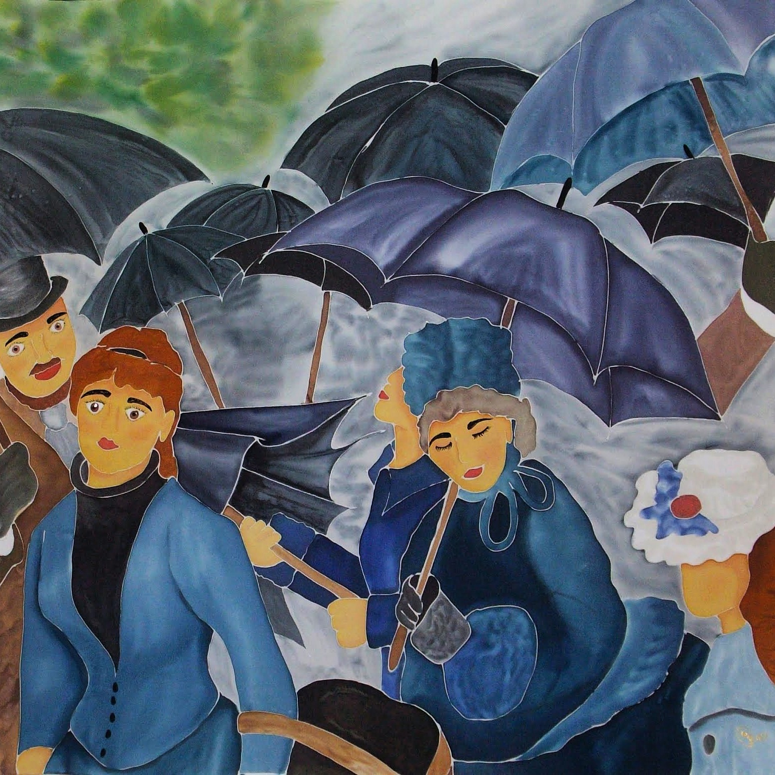 "Pañuelo seda ""Los paraguas"""