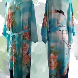 Kimono peonias y garza