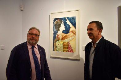 El Excmo alcalde Don Joaquín Villanova y don Francisco García presidente de la Asociación ante una de mis acuarelas expuestas.